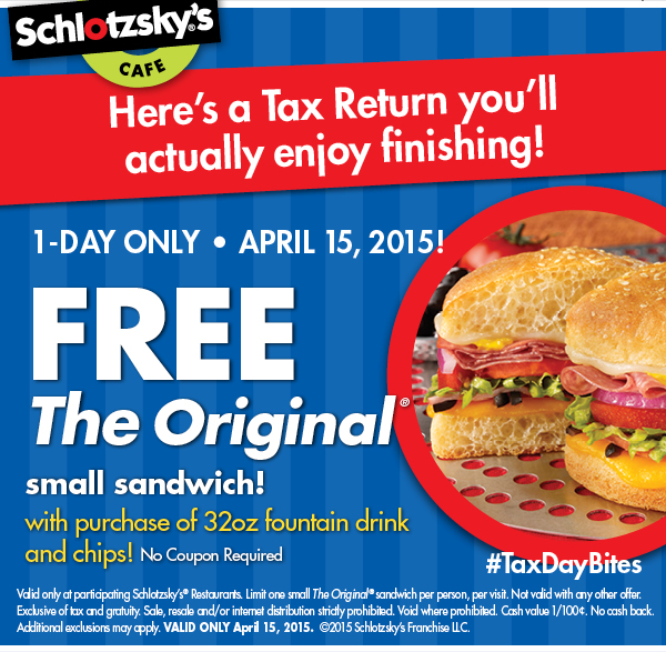 Tax Day deal at Schlotskys